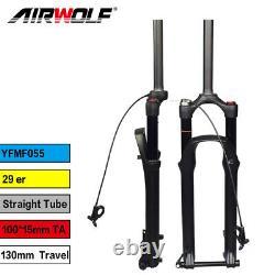 29 Air Suspension Fork MTB Thru Axle Bike Forks 130mm Travel Manual Remote