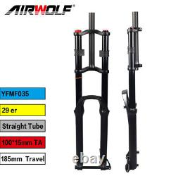 29 MTB Air Suspension Fork Downhill Bike Forks 185mm Travel Thru Axle 10015mm