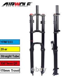 29er MTB Air Suspension Fork Mountain Downhill Bike Forks 1-1/8 170mm Travel