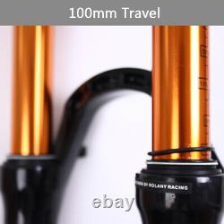 BOLANY 26/27.5/29 Suspension Fork Air Shock 100mm MTB Bike Tapered Tube Fork