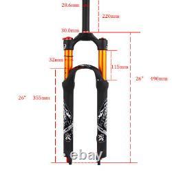 KRSEC 26 MTB Cycling Bike Air Suspension Forks 1-1/8 Rebound Disc 9mm QR AL
